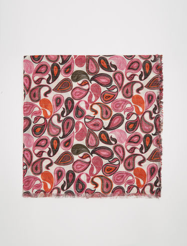 Printed scarf with lamé