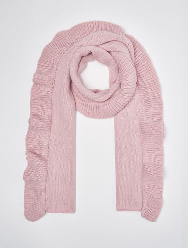 Tricot scarf with maxi ruching