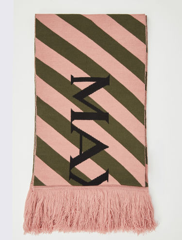 Striped scarf with logo