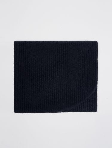 Ribbed knit hoodie scarf