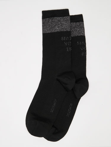 Socks with lettering and lamé