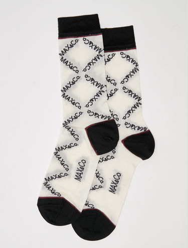 Socks with inlay logo