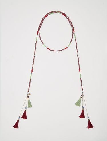 Offene Halskette mit kleinen Quasten
