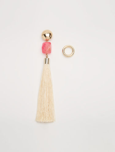 Asymmetrical earrings with nappa