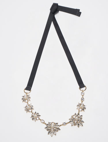 Rhinestone and gros-grain necklace