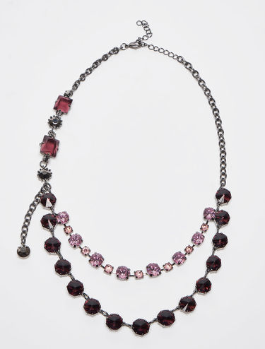 Asymmetrical necklace with rhinestones