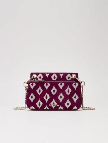 Embroidered mini chain bag