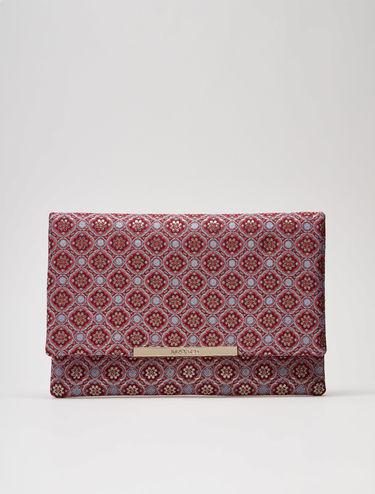 Lamé jacquard maxi clutch bag