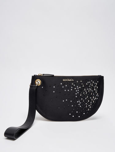 Satin clutch bag with rhinestones