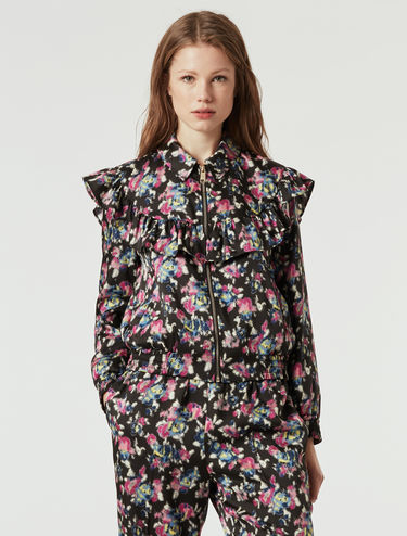 Floral twill bomber jacket