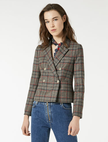 Flannel blazer with check pattern