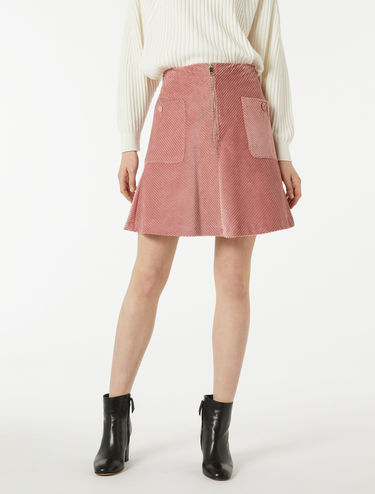 Ribbed velvet A-line skirt