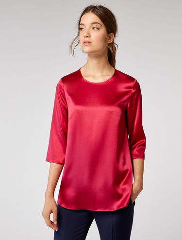 Stretch silk satin blouse