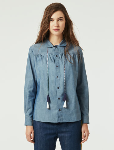 Chambray shirt with tassels