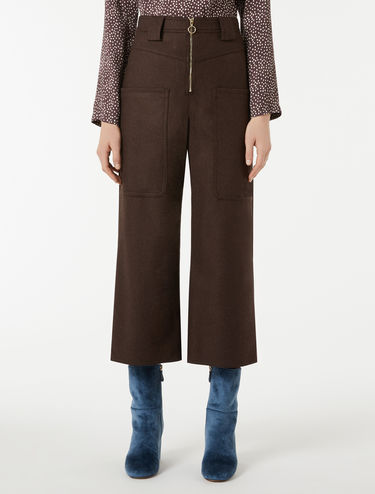 Pantalon taille haute en flanelle