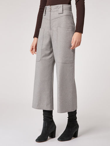 High-waist flannel trousers