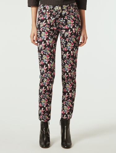 Skinny cotton satin trousers