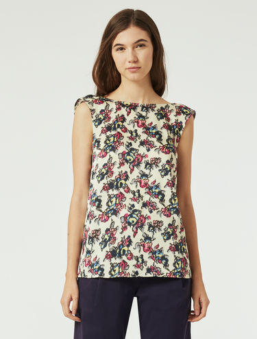 Floral twill top with ruffle