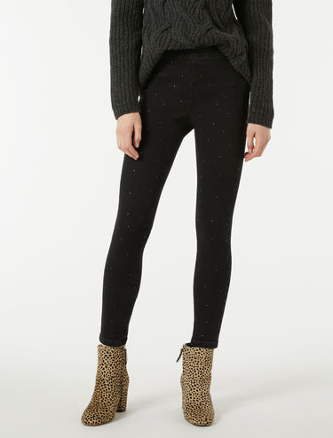 Super-stretch jeggings with studs