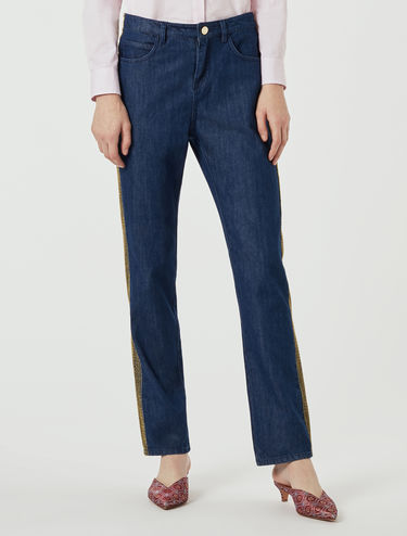 Lamé embroidered jeans