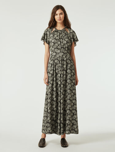 Long sablé crêpe dress