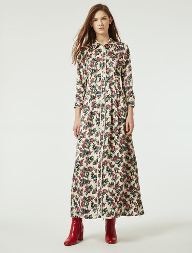 Floral twill shirt dress