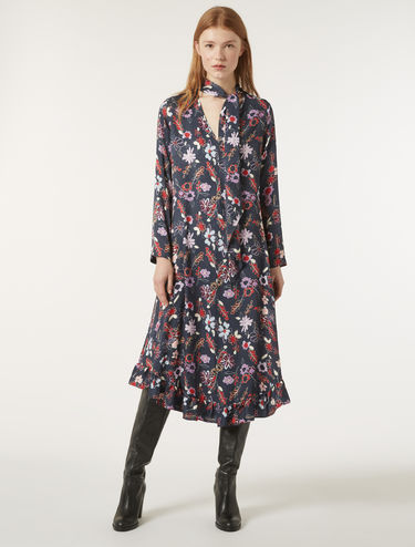 Jacquard fabric floral dress