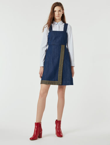 Denim dress with lamé embroidery