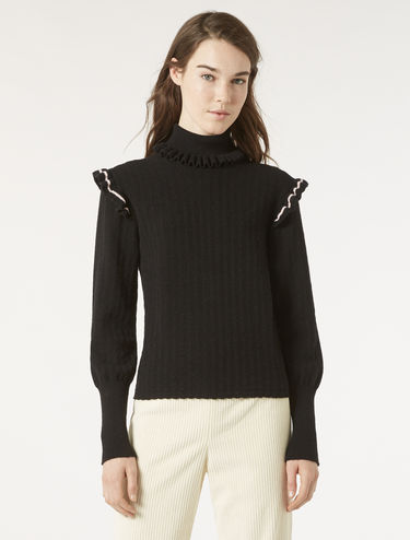Ruched ribbed sweater