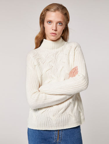 Soft cable and rib sweater