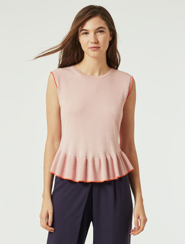 Stretch knit top with ruffles