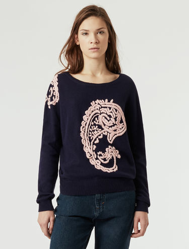 Sweater with paisley embroidery
