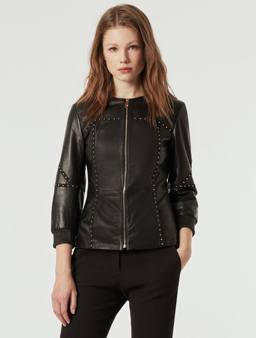 Slim nappa jacket with studs