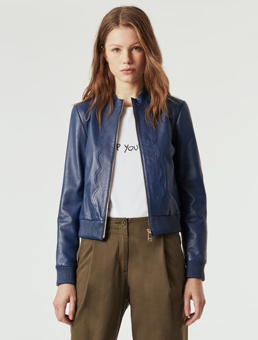 Leather bomber jacket, scalloped-edge