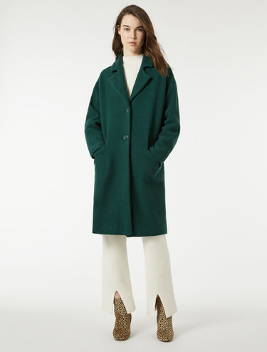 Bouclé wool jersey coat