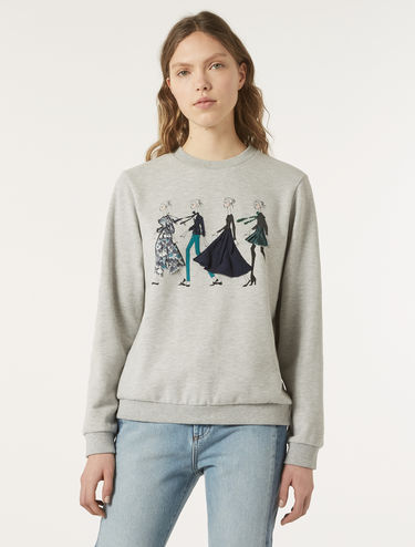 Sweatshirt with print and appliqués