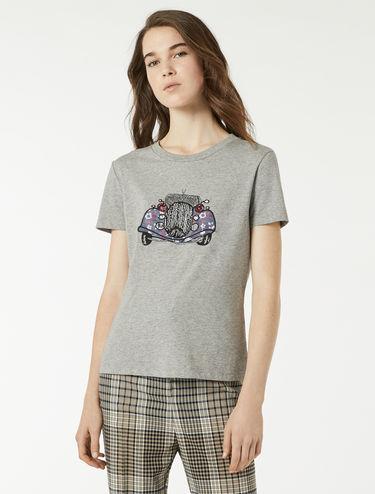 T-shirt à appliqués et broderies