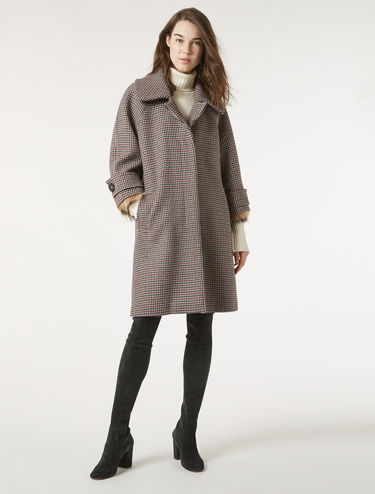 Oversize houndstooth coat