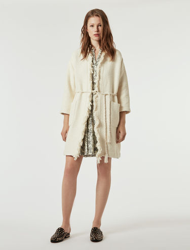 Basketweave coat with fringe