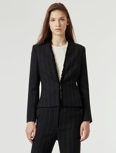 Slim-fit jacquard fabric jacket