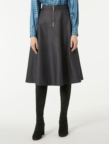 Wool denim midi skirt
