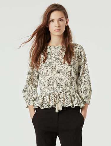 Printed broderie anglaise blouse