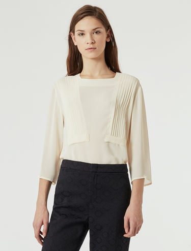 Crêpe de chine blouse with pleat