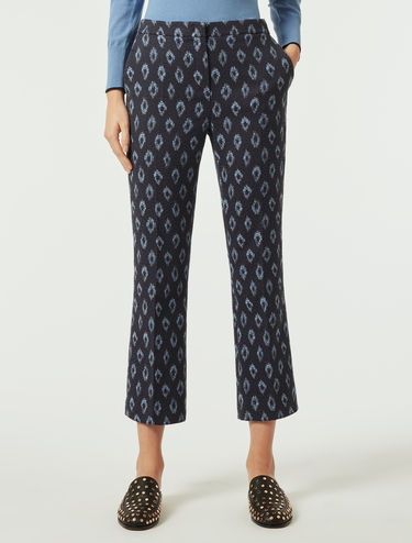 Straight-fit jacquard trousers