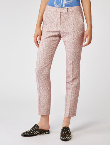 Slim-fit jacquard fabric trousers