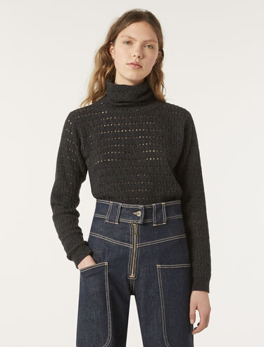 Openwork turtleneck sweater