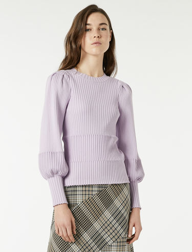 Slim sweater with puff sleeves