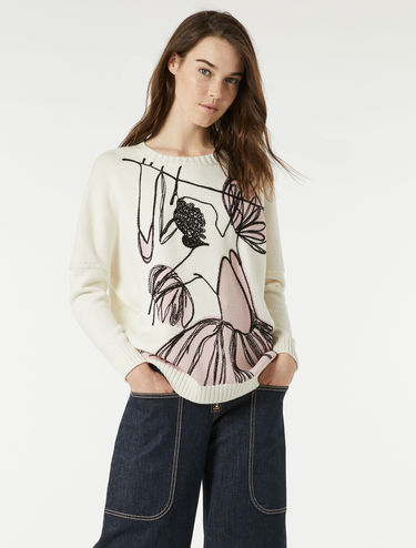Sweater with inlay and embroidery