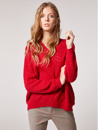 Oversized openwork sweater