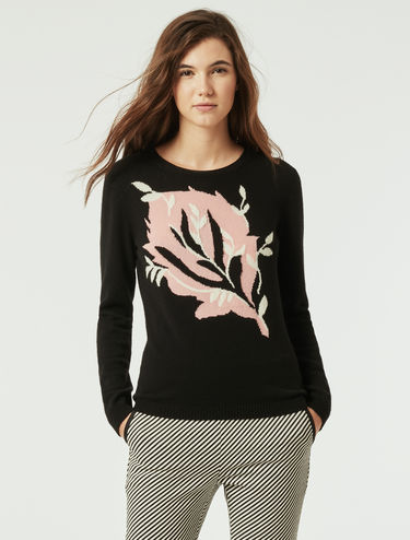 Cashmere sweater with inlay